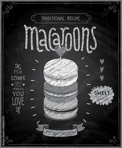 Wall mural Macaroons Poster - chalkboard style.