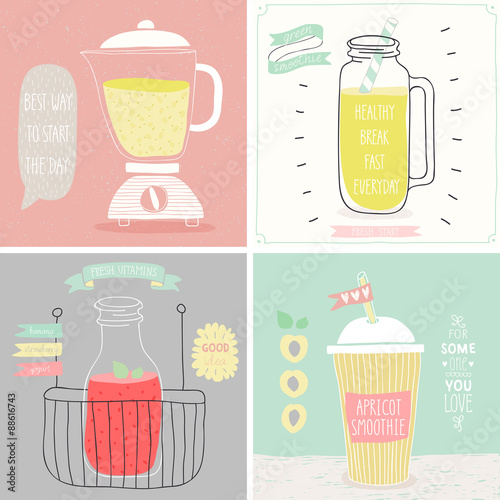 Wall mural Smoothie cards - Hand drawn style.