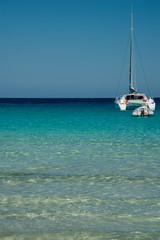 Catamaran mouillé dans une anse corse à l'eau turquoise