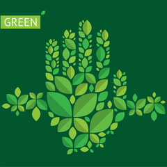Illustration with hands from leaves about green, ecology, protection of nature.