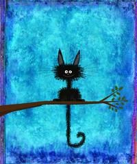 Black Cat Sitting on Twig