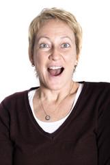 Surprised Mature Blond Woman