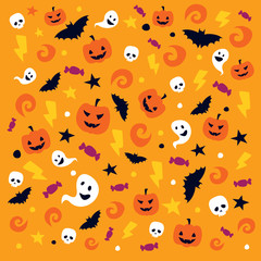Happy Halloween pattern with traditional elements,pumpkin, skull, bat, ghost, etc.