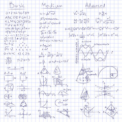 Math notes. Vector of Mathematics on seamless grid paper. 3 different levels, basic, medium and advanced.