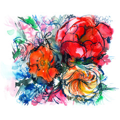 bouquet of colorful flowers on a white background, peony, ranunculus, poppy, watercolor sketch