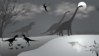 Dinosaurs against the landscape. Black-and-white vector illustration
