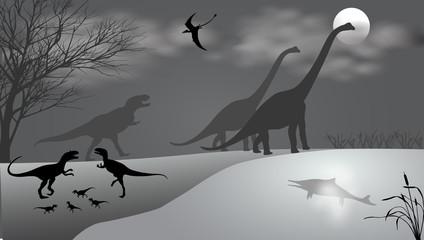 Dinosaurs against the landscape. Black-and-white vector illustration