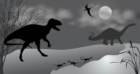 Dinosaurs against the landscape. Black-and-white vector illustration.