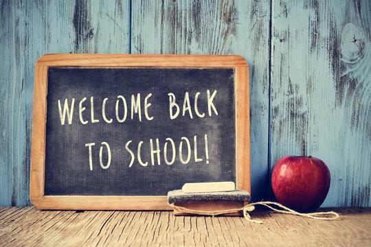text welcome back to school written on a chalkboard, cross proce