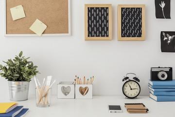 Stylish desk with designed equipment