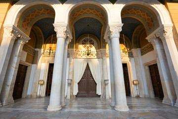The main entrance to the Metropolitan Cathedral of Athens