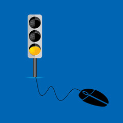 mouse connecting with yellow traffic signal vector