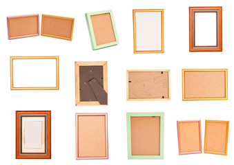 Set wooden frame isolated on white background