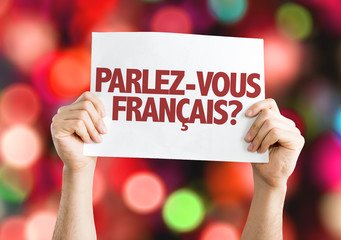 Do You Speak French? (in French) card with bokeh