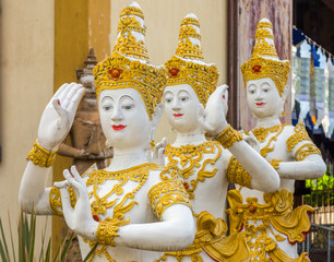 Vintage Thai dance posture of angel statues in Thailand temple