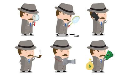 Detective mascot set 1