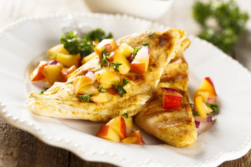 Grilled chicken with nectarine salsa