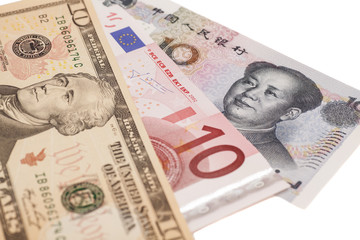 American dollars, European euro and Chinese yuan bills