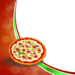 Abstract background red green food pizza yellow orange frame illustration vector