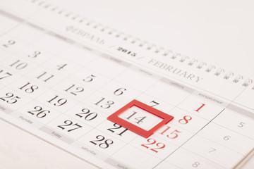 2015 year calendar. February calendar with red mark on 14 Februa
