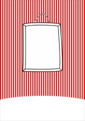 Hand drawn decorative vector frame on stripes wall background