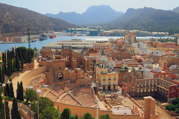Roman theater and ruins of cathedral. Cartagena, Spain