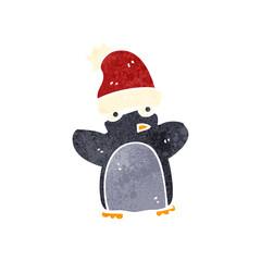 retro cartoon funny christmas penguin