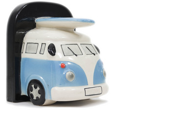 The vintage van on white background