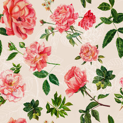 Vintage style pink watercolour roses seamless pattern
