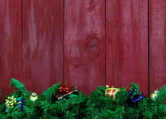 Blank rustic sign with garland and presents border