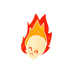 retro cartoon flaming skull