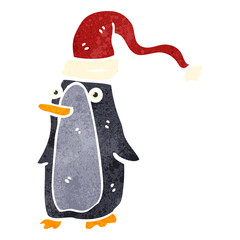 retro cartoon christmas penguin