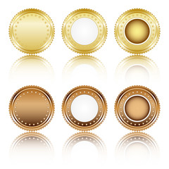 Gold and brown buttons