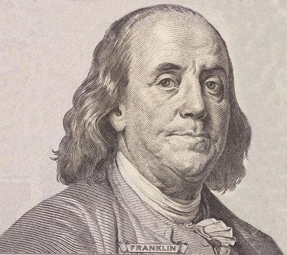 Portrait of  U.S. president Benjamin Franklin