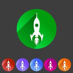 Rocket icon flat web sign symbol logo label