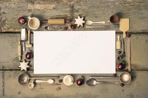 Hintergrund Weihnachtlich Mit Holz Und Vintage Kuchen Utensilien Als