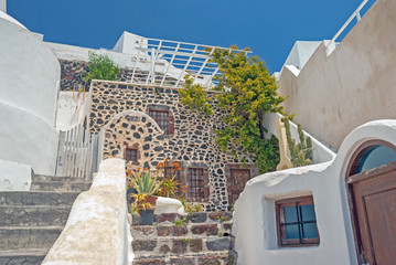 Traditional architecture of Oia village on Santorini island, Gre