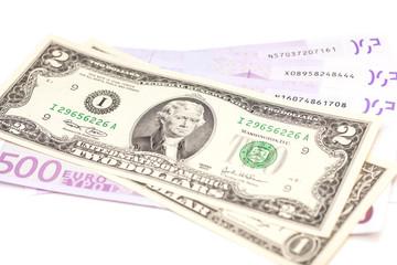 dollar and euro money isolated on white