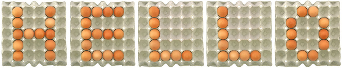 HELLO word from eggs in paper tray