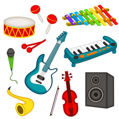 set of isolated musical instruments - vector illustration, eps