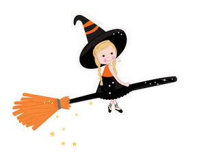 Cute witch happy halloween background vector