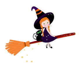 Cute witch with cats happy halloween background vector