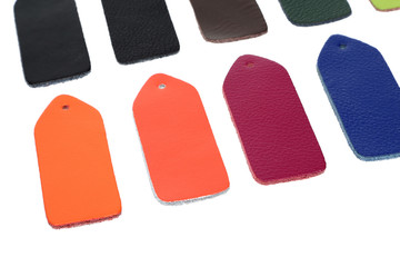 Multi-colored samples of leather
