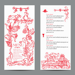 Restaurant menu design with vintage label