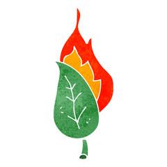 retro cartoon burning leaf