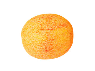 Cantaloup melon (Cucumis melo, cantalupensis), isolated on white background