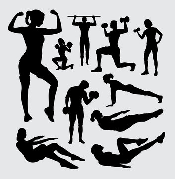 Fitness sport male and female silhouette