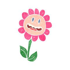 retro cartoon flower grinning
