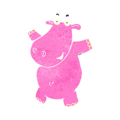 retro cartoon pink hippo