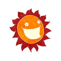 retro cartoon grinning sun